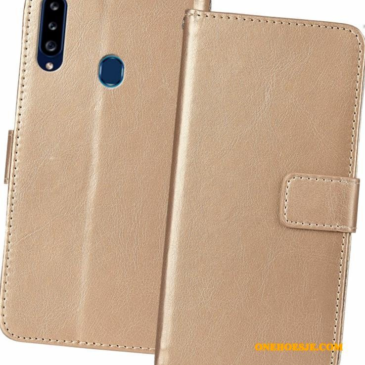 Hoesje Voor Samsung Galaxy A20s Telefoon Folio Ster All Inclusive Goud Anti-fall