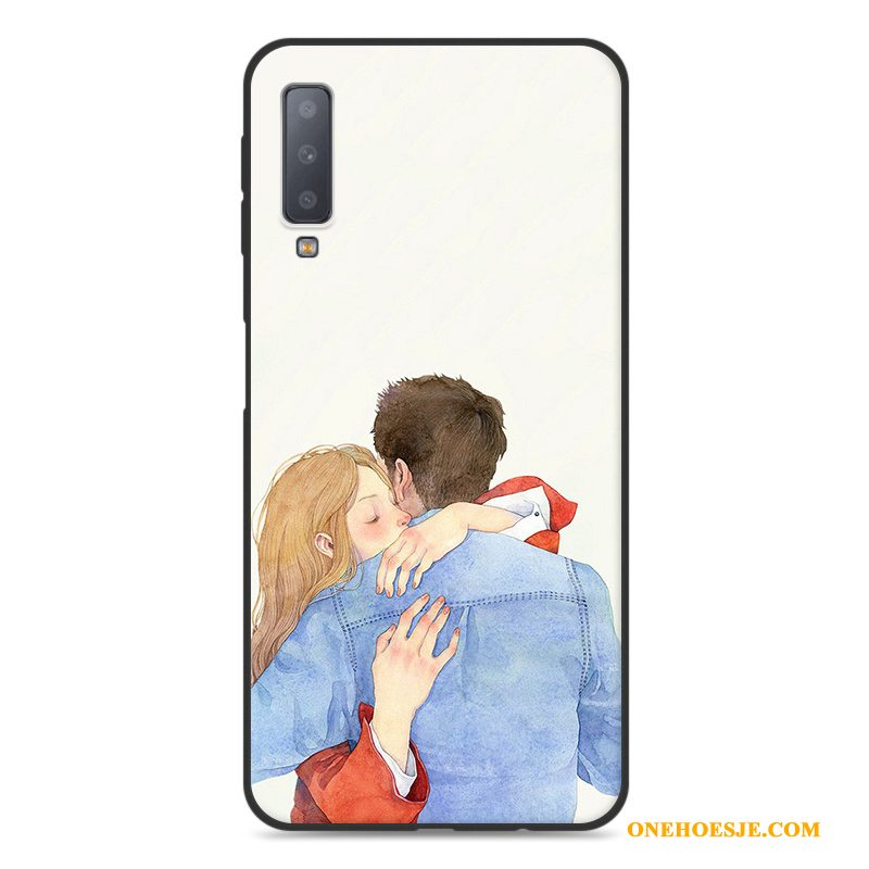 Hoesje Voor Samsung Galaxy A7 2018 Wit Siliconen Hoes Bescherming Kunst Ster