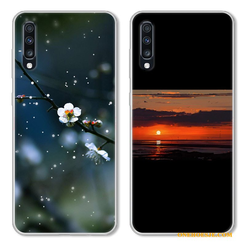 Hoesje Voor Samsung Galaxy A70 Bescherming Hoes Wit Siliconen Spotprent Anti-fall
