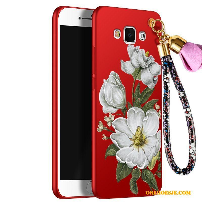 Hoesje Voor Samsung Galaxy A8 Schrobben Bescherming Ster Rood Siliconen Anti-fall