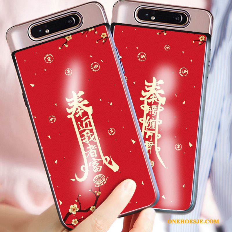 Hoesje Voor Samsung Galaxy A80 Chinese Stijl Glas Anti-fall Rood All Inclusive Siliconen