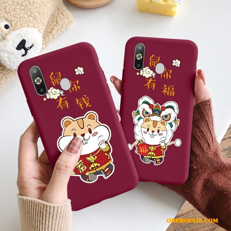 Hoesje Voor Samsung Galaxy A8s Hoes Ster Chinese Stijl Rood Spotprent Trend