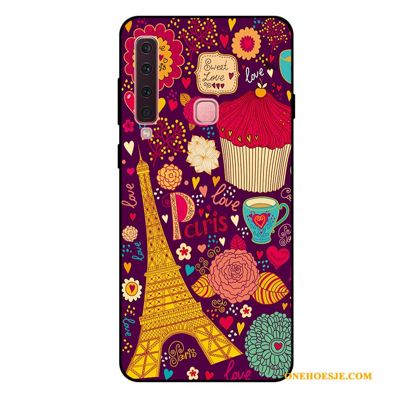 Hoesje Voor Samsung Galaxy A9 2018 Hoes Siliconen Rood Anti-fall Spotprent Telefoon