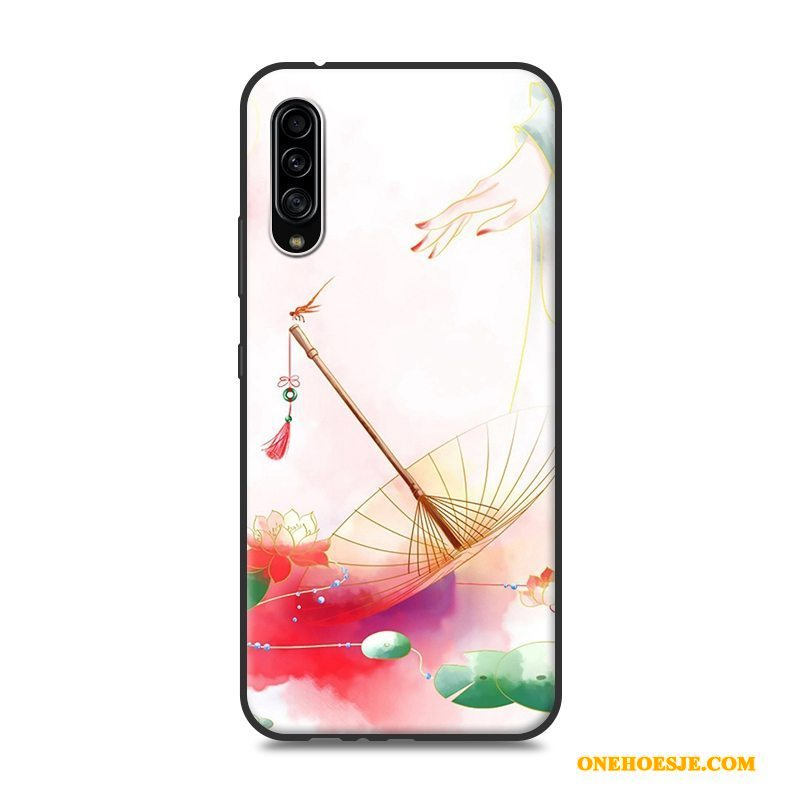 Hoesje Voor Samsung Galaxy A90 5g Bescherming Siliconen Roze Chinese Stijl Hoes Ster