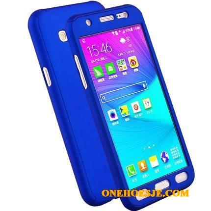 Hoesje Voor Samsung Galaxy J3 2016 Blauw Anti-fall Schrobben Telefoon Hard Bescherming