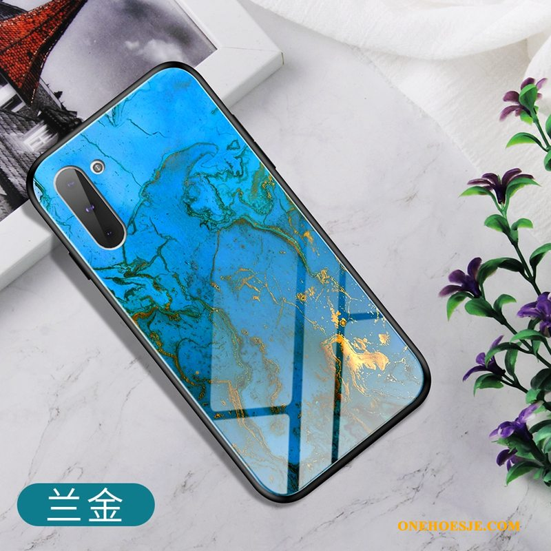 Hoesje Voor Samsung Galaxy Note 10 Hoes Scheppend Trend Anti-fall Blauw Glas