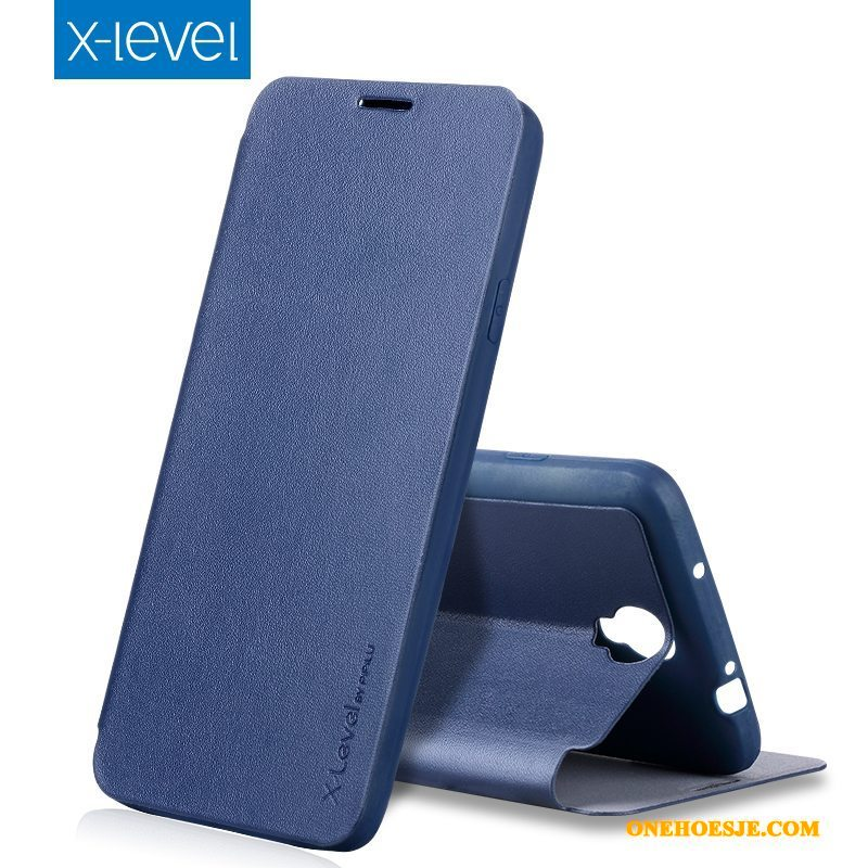 Hoesje Voor Samsung Galaxy Note 3 Dun Ster Leren Etui All Inclusive Donkerblauw Clamshell