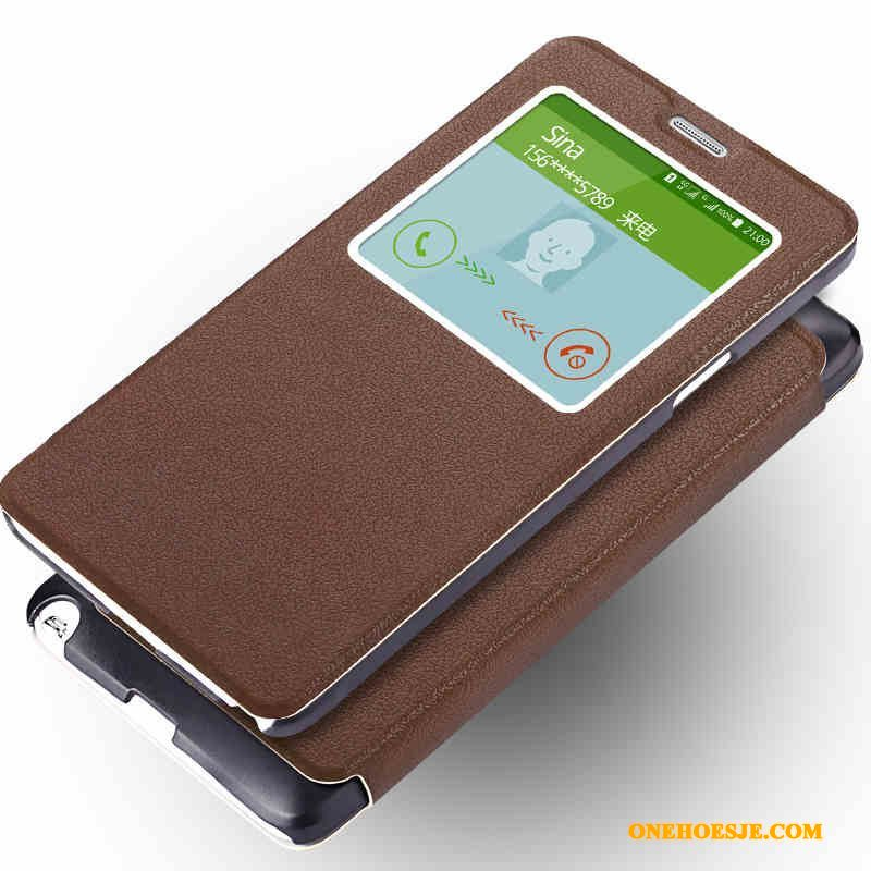 Hoesje Voor Samsung Galaxy Note 4 Anti-fall Clamshell Ster Telefoon Bruin