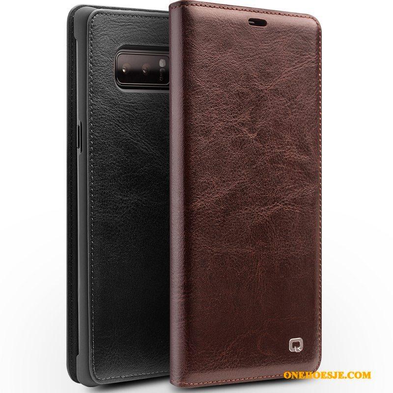 Hoesje Voor Samsung Galaxy Note 8 Hoes Leren Etui Bruin Telefoon Ster Folio