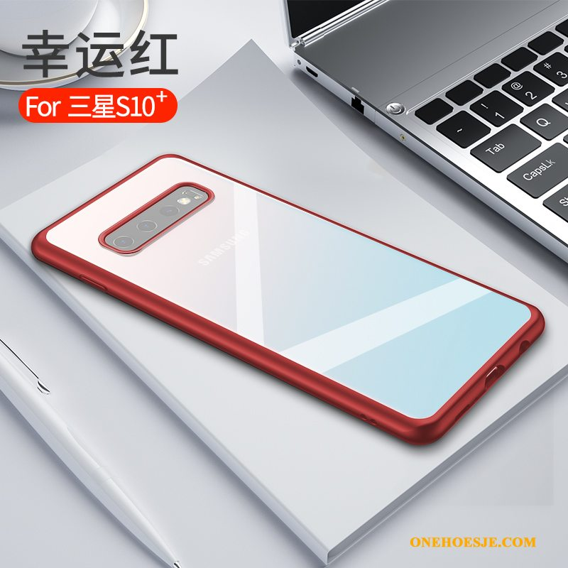 Hoesje Voor Samsung Galaxy S10+ Anti-fall Rood Nieuw Ster Siliconen Dun