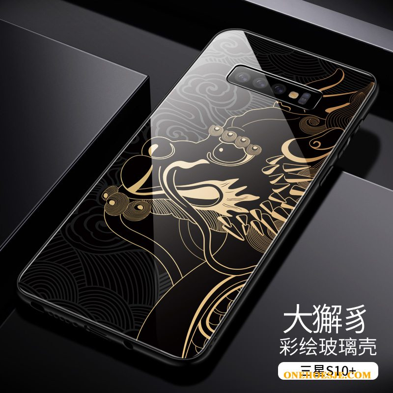 Hoesje Voor Samsung Galaxy S10+ Glas Hoes High End Chinese Stijl Dun Anti-fall