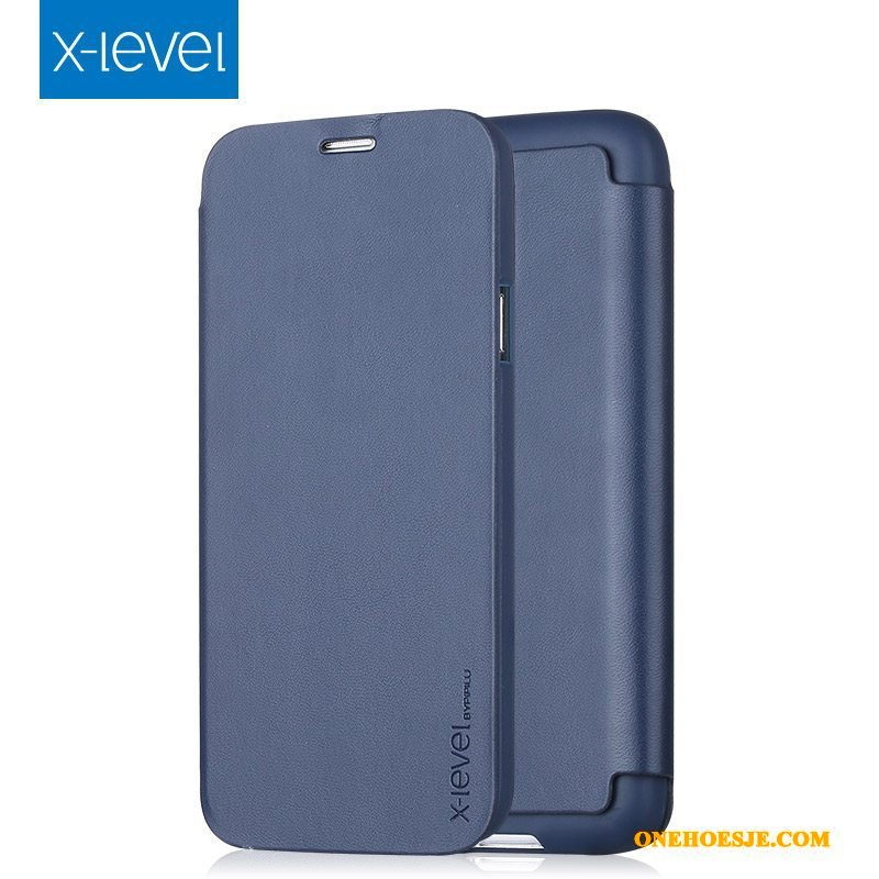 Hoesje Voor Samsung Galaxy S5 Leren Etui All Inclusive Ster Donkerblauw Hoes Clamshell