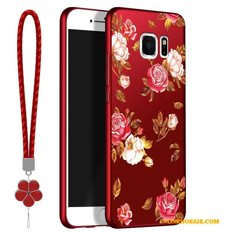 Hoesje Voor Samsung Galaxy S6 Edge All Inclusive Rood Telefoon Siliconen Zacht Ster