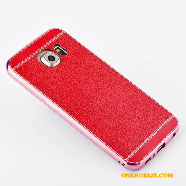Hoesje Voor Samsung Galaxy S6 Edge Rood Telefoon All Inclusive Ster Bescherming Anti-fall