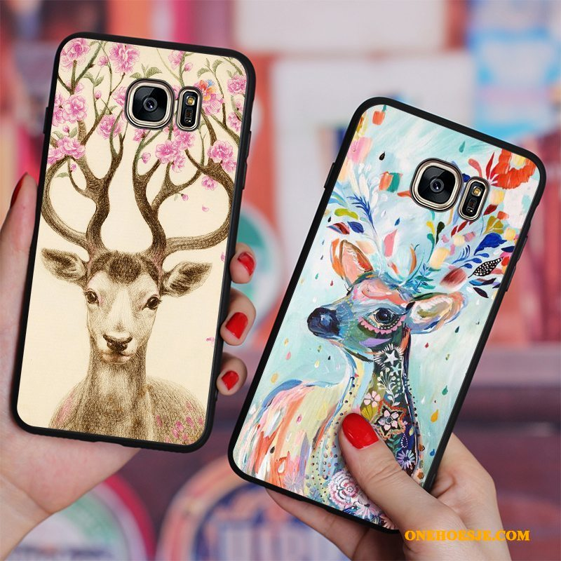Hoesje Voor Samsung Galaxy S6 Edge + Siliconen Hertachtigen Kleur Anti-fall Zacht Bloemen