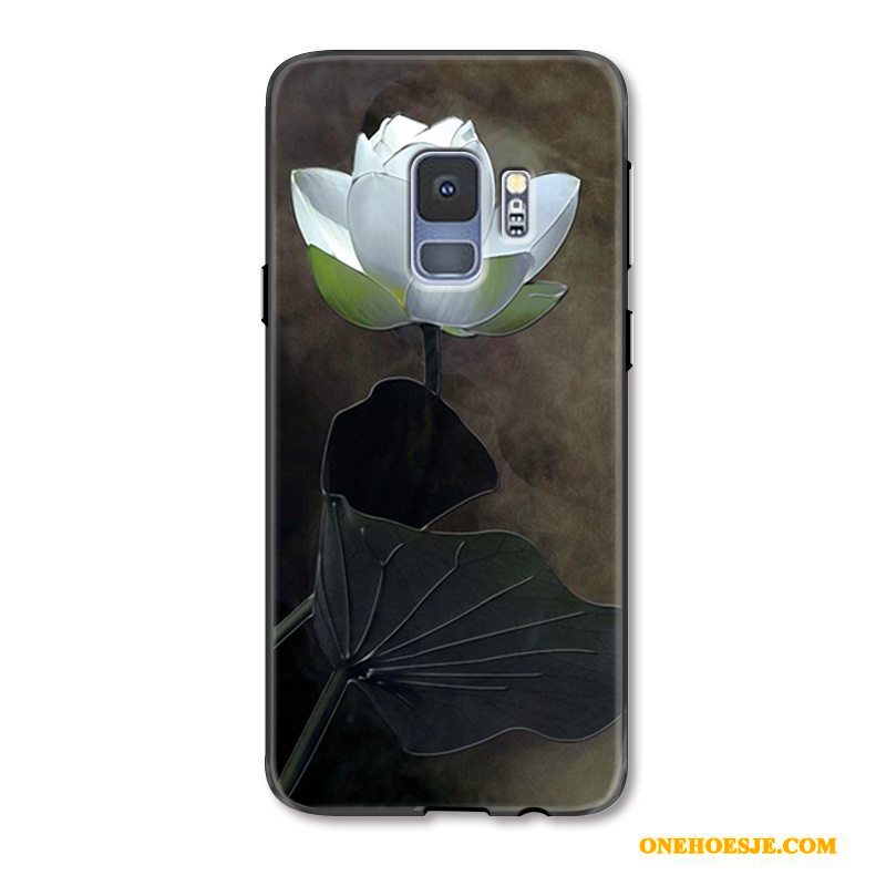 Hoesje Voor Samsung Galaxy S9 Reliëf Wit Vintage Hoes Chinese Stijl Vers