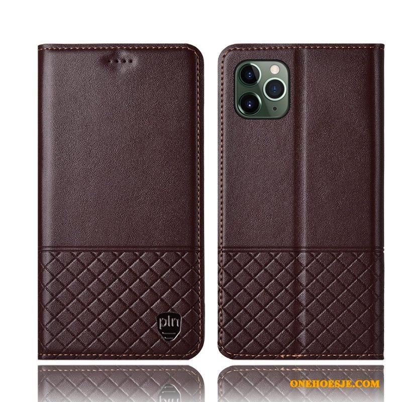 Hoesje Voor iPhone 11 Pro Max All Inclusive Echt Leer Telefoon Folio Bescherming Anti-fall