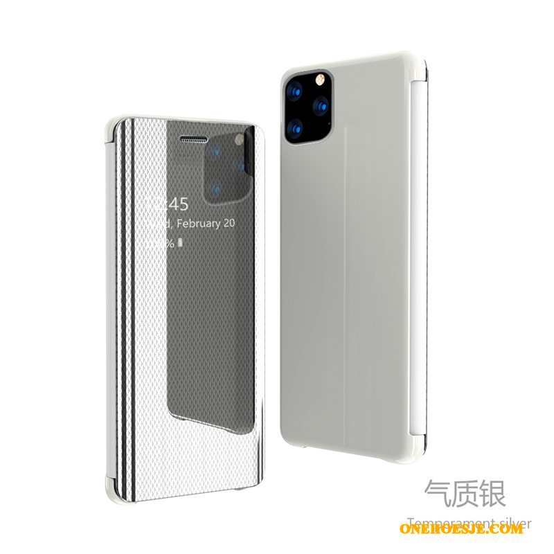 Hoesje Voor iPhone 11 Pro Max Folio Patroon Telefoon Spiegel Zilver Leren Etui