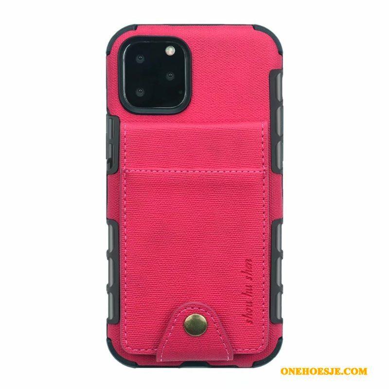 Hoesje Voor iPhone 11 Pro Max Rood Telefoon Leren Etui Kaart Tas Portemonnee