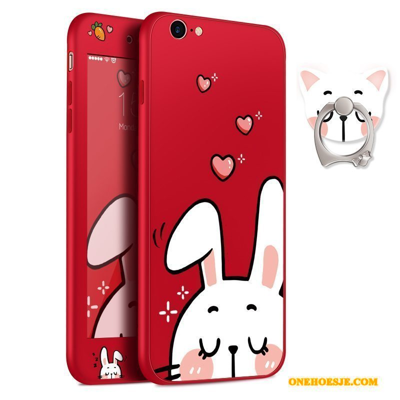Hoesje Voor iPhone 8 Plus All Inclusive Anti-fall Hanger Dun Siliconen Rood