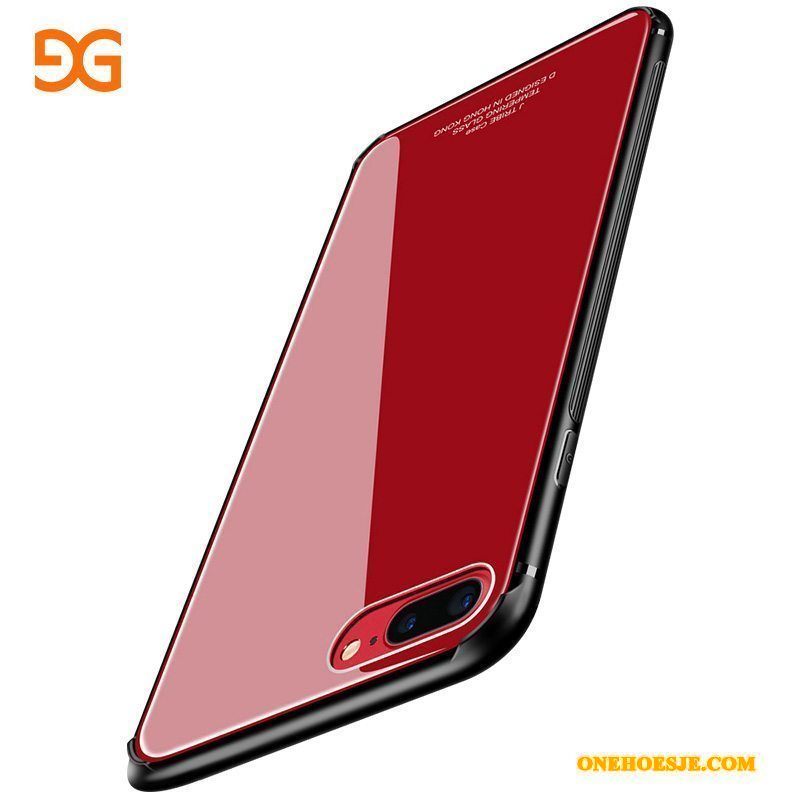 Hoesje Voor iPhone 8 Plus Rood Telefoon Trend Anti-fall All Inclusive Glas