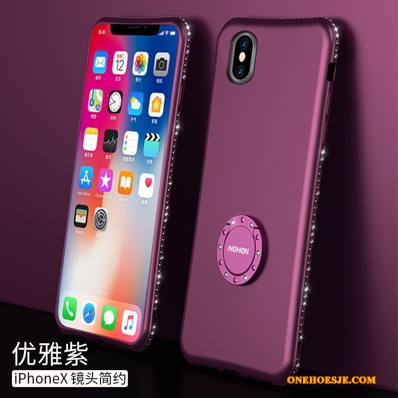 Hoesje Voor iPhone X All Inclusive Purper Nieuw Anti-fall Hoes Dun