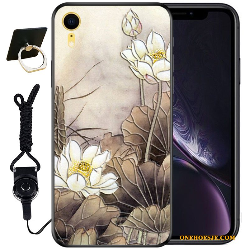 Hoesje Voor iPhone Xr All Inclusive Anti-fall Zwart Hoes Siliconen Driedimensionaal