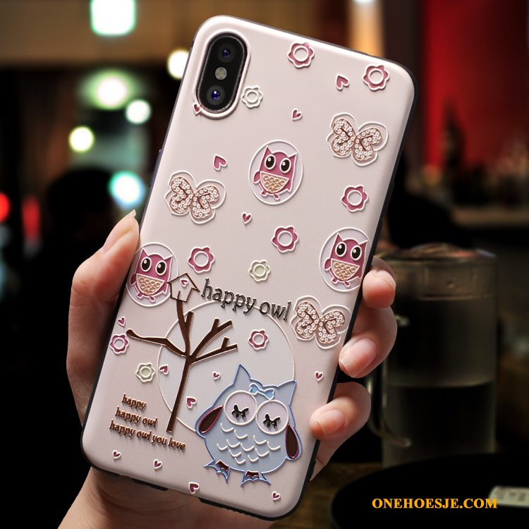 Hoesje Voor iPhone Xs All Inclusive Scheppend Telefoon Roze Anti-fall Siliconen